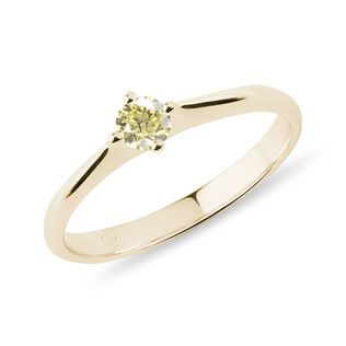 Yellow diamond ring in 14k yellow gold