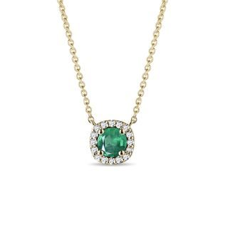 Emerald and diamond necklace in yellow gold