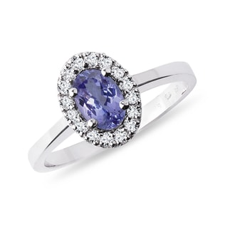 Bague en or avec diamants et tanzanite