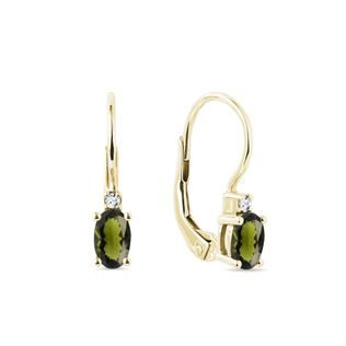 Oval moldavite and diamond earrings in gold
