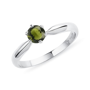 Moldavite engagement ring in white gold