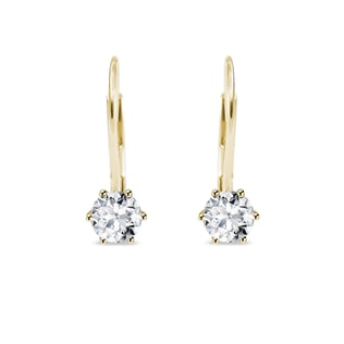 Yellow gold earrings with CZ stones