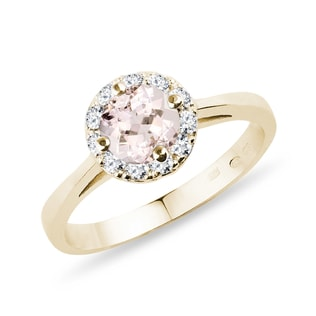 Bague or jaune, morganite et diamants
