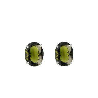 Moldavite earrings in white gold