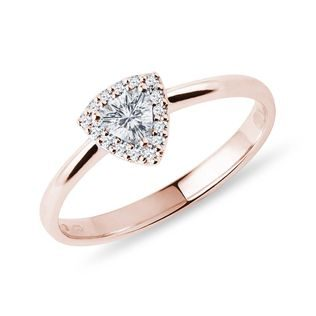 Trillion cut diamond ring in rose gold