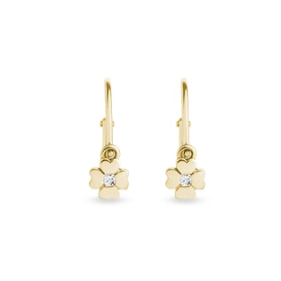Diamond clover earrings for children in 14kt gold