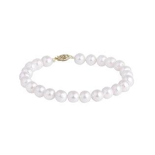 White freshwater pearl bracelet in yellow gold