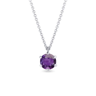 Purple amethyst pendant in white gold