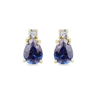 Tanzanite and diamond earrings in yellow gold