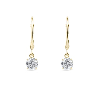 Diamond earrings in 14kt yellow gold