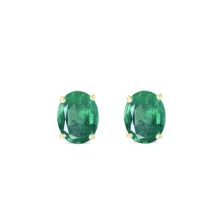Oval emerald earrings in yellow gold