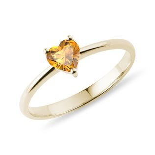 Heart-shaped citrine ring in gold