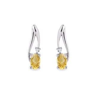 Citrine and diamond earrings in 14kt white gold