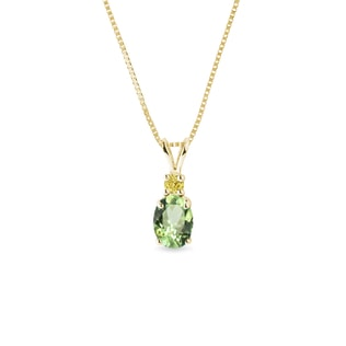 Tsavorite and yellow sapphire necklace in gold