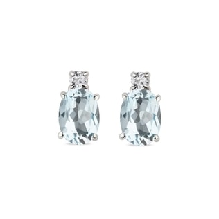 Aquamarine earrings in white gold