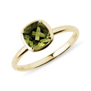 Moldavite ring in yellow gold