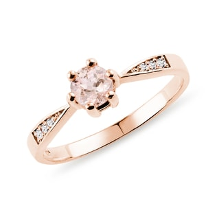Bague en or rose, morganite et diamants