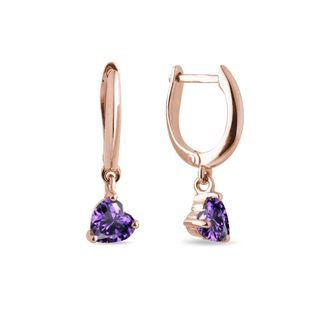 Heart-shaped amethyst earrings in rose gold