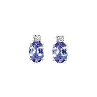Gold earrings with tanzanite and diamonds