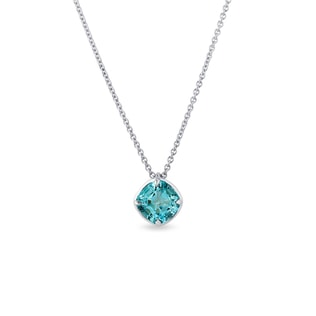 Blue topaz necklace in white gold