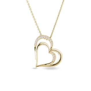 Gold necklace with diamonds hearts