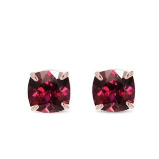 Rhodolite stud earrings in rose gold