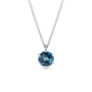 London topaz pendant in white gold