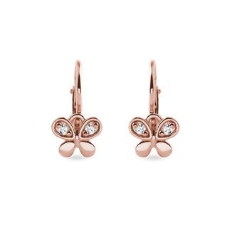 Children's butterfly earrings in rose gold