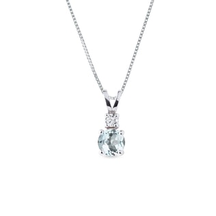 Collier en or blanc avec aigue-marine et diamant