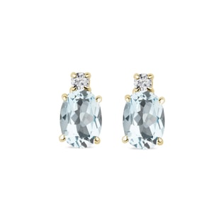 Aquamarine and diamond earrings in yellow gold