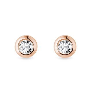 4 mm bezel diamond earrings in rose gold