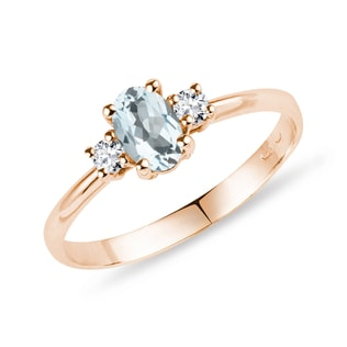 Bague en or rose avec aigue-marine et diamants