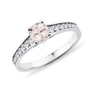 Morganite and diamond engagement ring in white gold