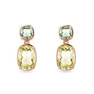 Lemon quartz and green amethyst earrings in rose gold