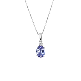 Tanzanite and diamond pendant in 14kt gold