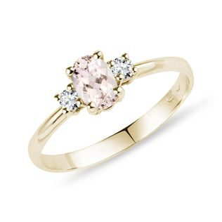 Bague or jaune, diamants et morganite
