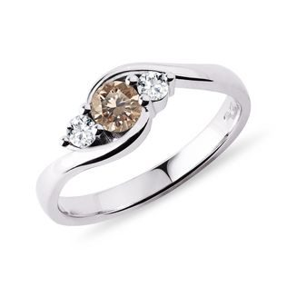 Champagne diamond ring in white gold