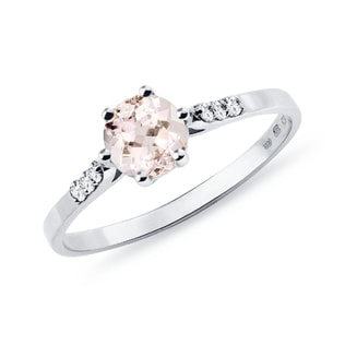 Bague en or blanc avec diamants et morganite