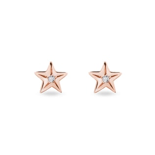 Diamond star earrings in rose gold