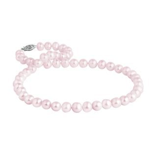 Pink pearl necklace with white gold clasp