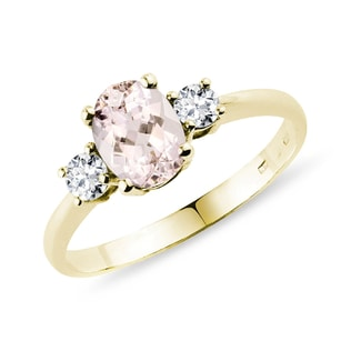 Bague en or avec diamants et morganite