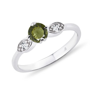 Silver moldavite ring with diamonds