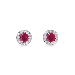 Ruby and diamond halo earrings in white gold