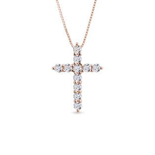 Diamond cross pendant in 14kt rose gold