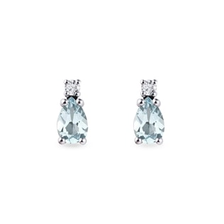 Aquamarine and diamond earrings in 14kt gold