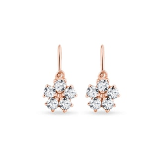 Children's rose gold earrings with CZ stones