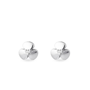 Children's shamrock diamond stud earrings in white gold