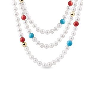 Pearl necklace with turquoise and coral in gold