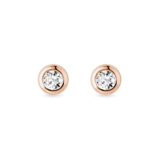3 mm diamond bezel earrings in rose gold