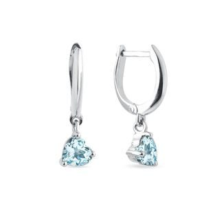 Heart-shaped topaz clasp earrings in white gold